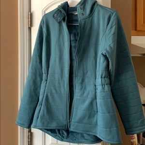North Face teal fleece jacket L NWOT ZIP UP